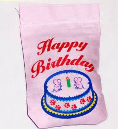 Pink Happy Birthday Linen Bag Toy